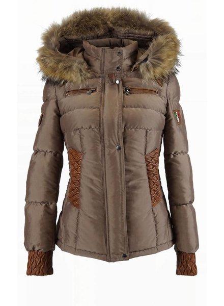 Feronetti Milano Dames winterjas met Bontkraag model 88 bruin