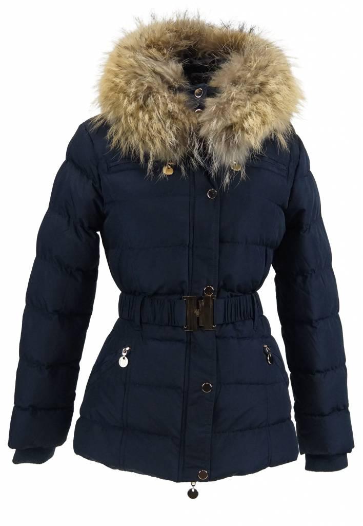 Milan Ferronetti Dames winterjasmet Bontkraag model blauw lc2115.