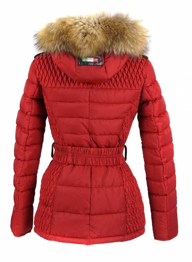 Milan Ferronetti Dames winterjas met Bontkraag model Rood REB