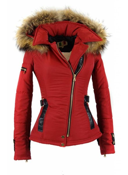 Feronetti Milano Dames winterjas met Bontkraag model Rood Emilly.