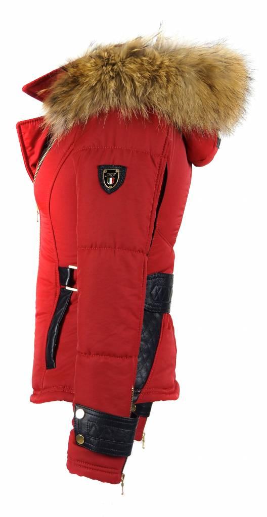 Milan Ferronetti Dames winterjas met Bontkraag model Rood Emilly.