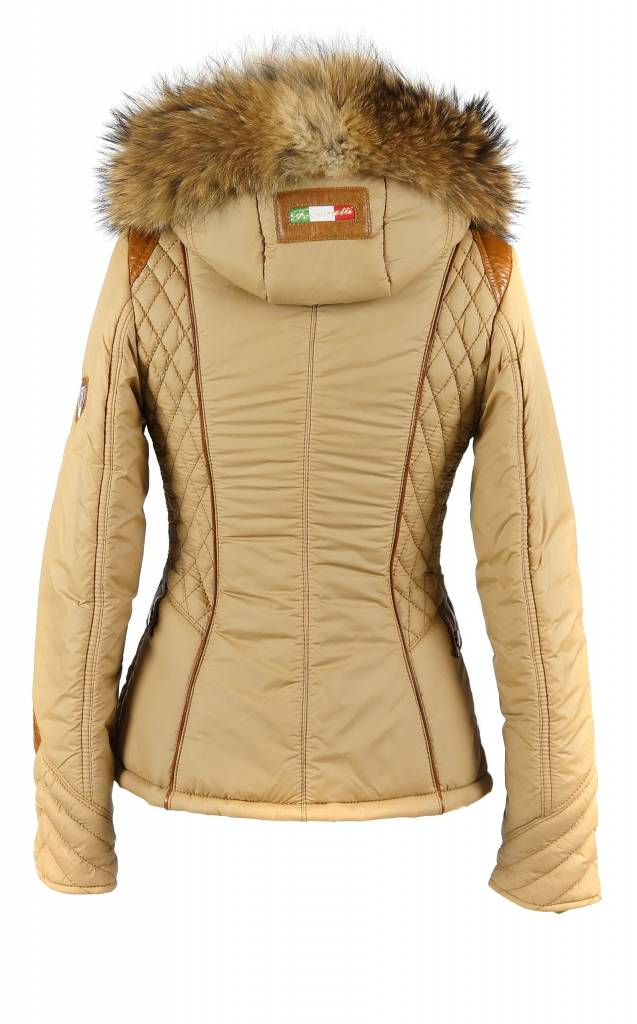 Feronetti Milano Dames winterjas met Bontkraag model Elya Camel