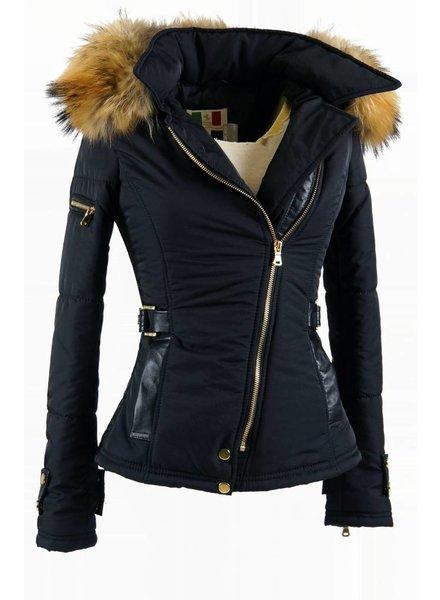 Milan Ferronetti Dames winterjas met Bontkraag model Zwart Emilly
