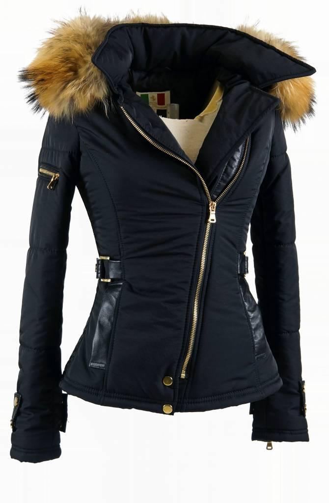Feronetti Milano Dames winterjas met Bontkraag model Zwart Emilly