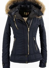 Feronetti Milano Dames winterjas met Bontkraag model Zwart bella