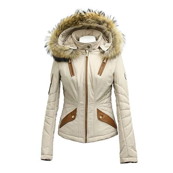 Feronetti Milano Dames winterjas met bontkraag 2049 beige