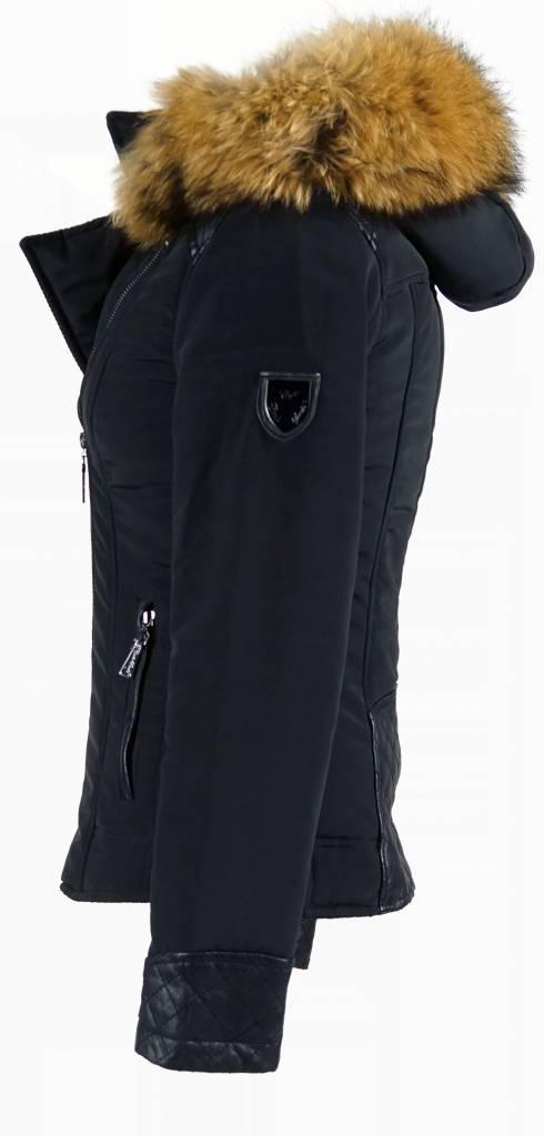 Carlo Sacchi Dames winterjas met Bontkraag model Zwart Syl