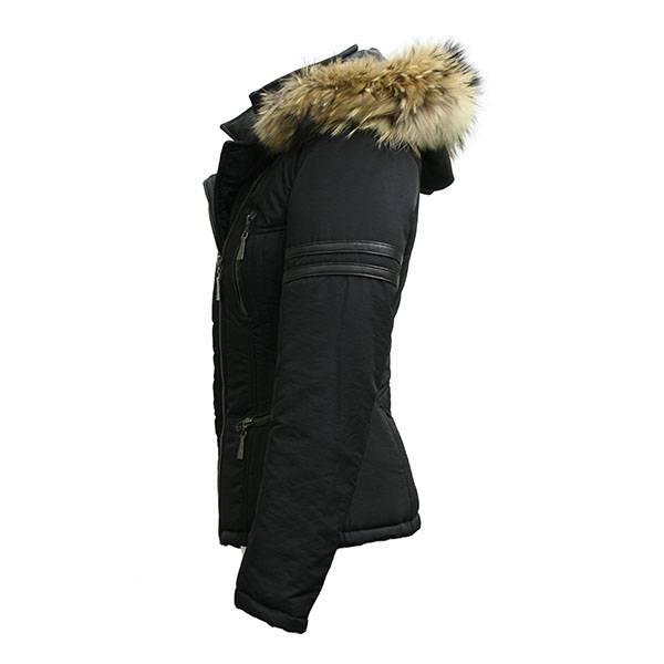 Carlo Sacchi Dames winterjas met bontkraag  Na05 zwart