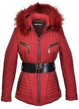 Dames winterjas met bontkraag Rina rood