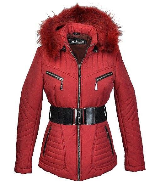 Carlo Sacchi Dames winterjas met bontkraag Rina rood
