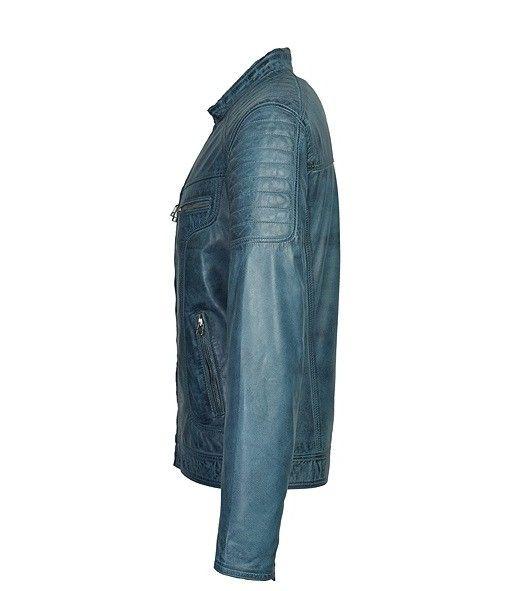 Heren Leren jas Ryan blauw