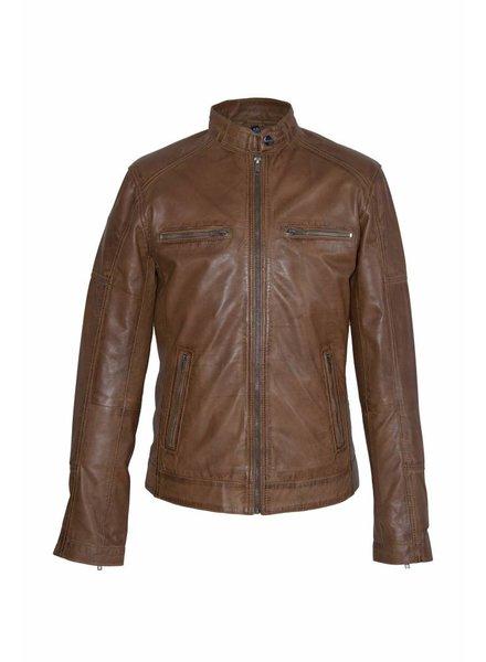 Carlo sachi Heren Leren jas DL092 bruin