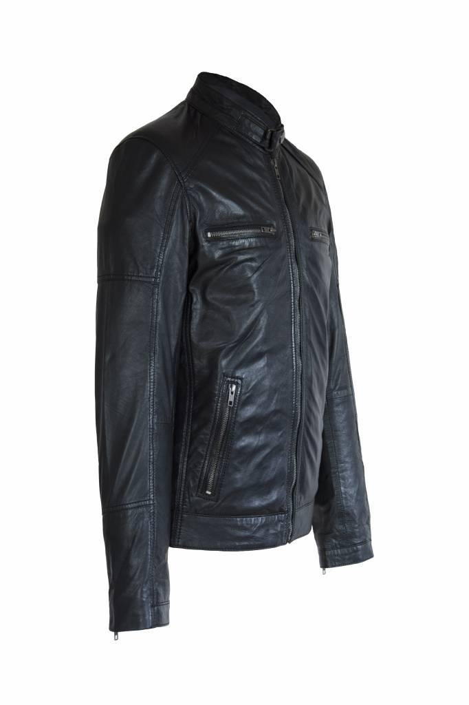 Carlo Sacchi Heren Leren jas DL092 zwart