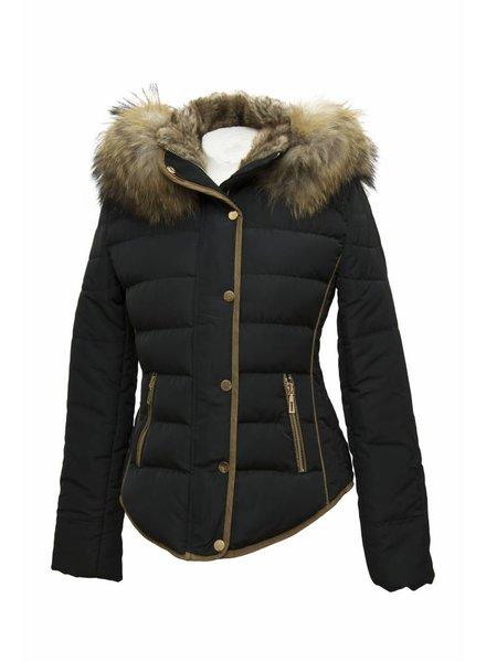 Attentif Dames winterjas met bontkraag M3 zwart