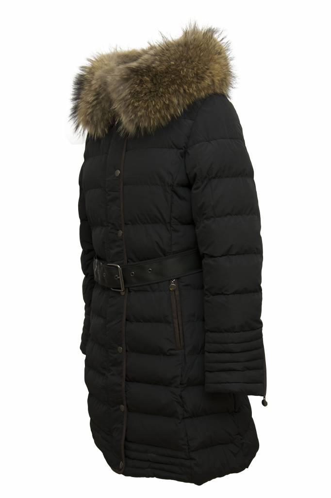 Attentif Dames winterjas met bontkraag M1 zwart
