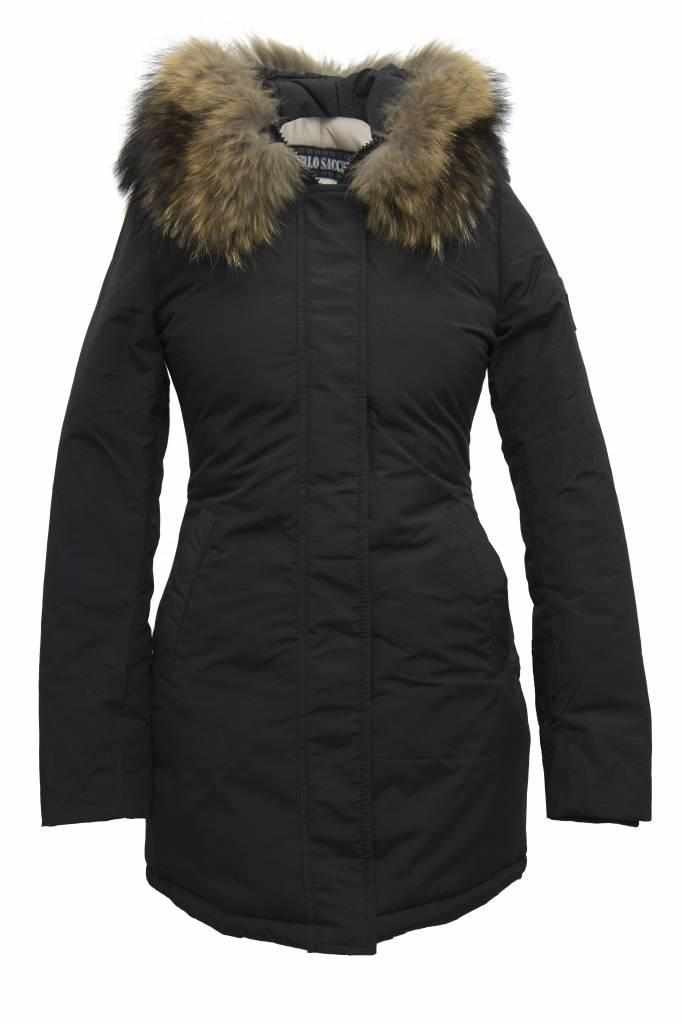 Carlo Sacchi Dames winterjas met bontkraag CS V zwart