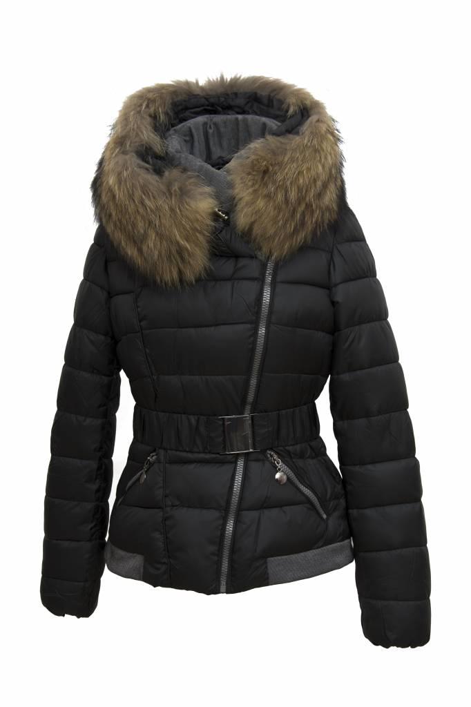Dames Winterjas.Dames Winterjas Met Bontkraag M2 Zwart Leather City