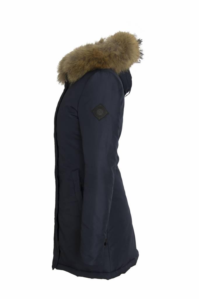 Carlo Sacchi Dames winterjas met bontkraag blauw V