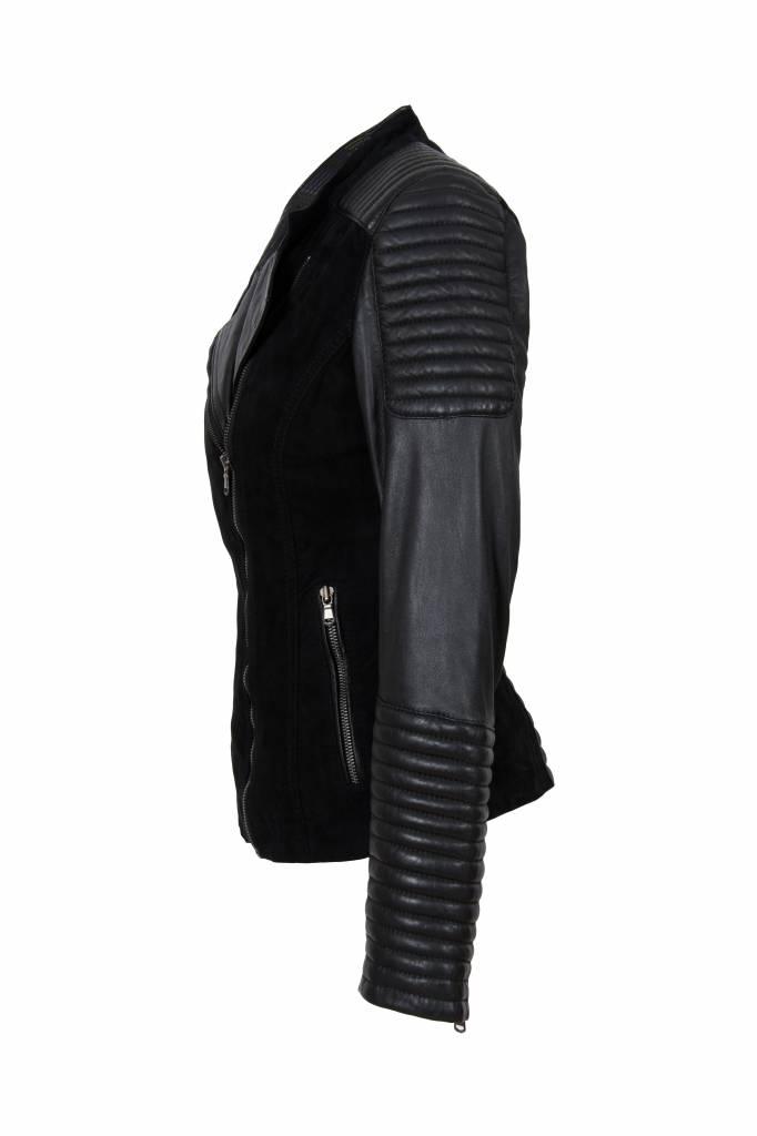 Carlo Sacchi Dames Leren jas Janet zwart