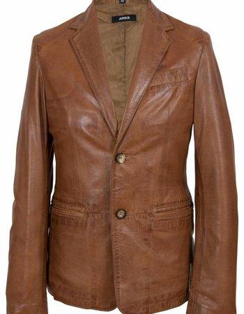 Carlo sachi Heren leren  blazer bruin