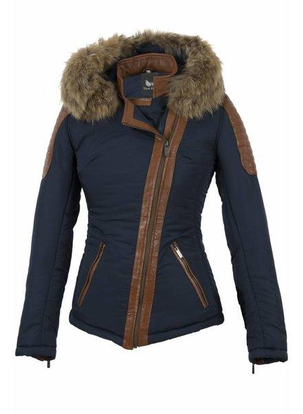 Carlo sachi Dames winter jas met bontkraag JS blauw