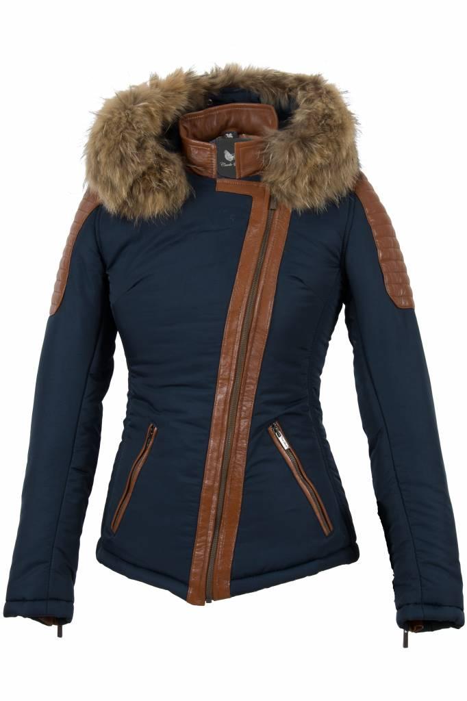 Carlo Sacchi Dames winter jas met bontkraag JS blauw