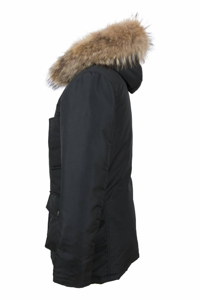 Carlo Sacchi Heren winterjas met  bontkraag elmo zwart ak12