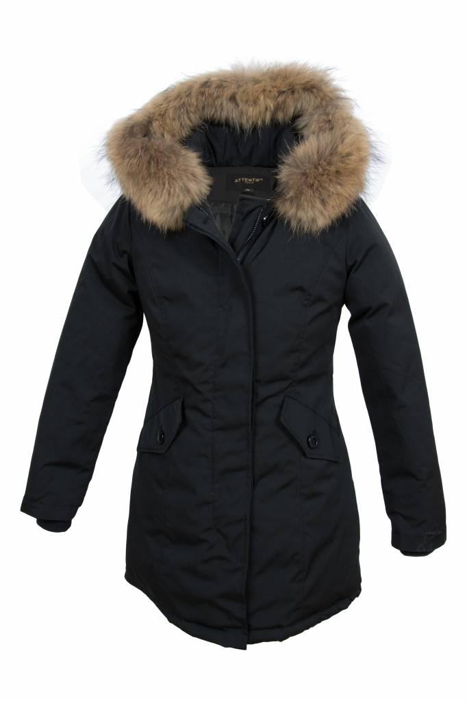 Attentif Dames winterjas met bontkraag parka 2 zwart