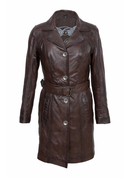 Carlo sachi Dames leren jas trench coat veg. wood