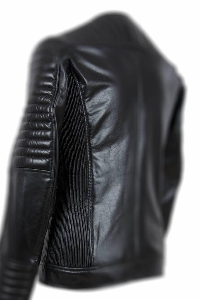 Carlo Sacchi Heren leren jas 999  zwart schuin rits