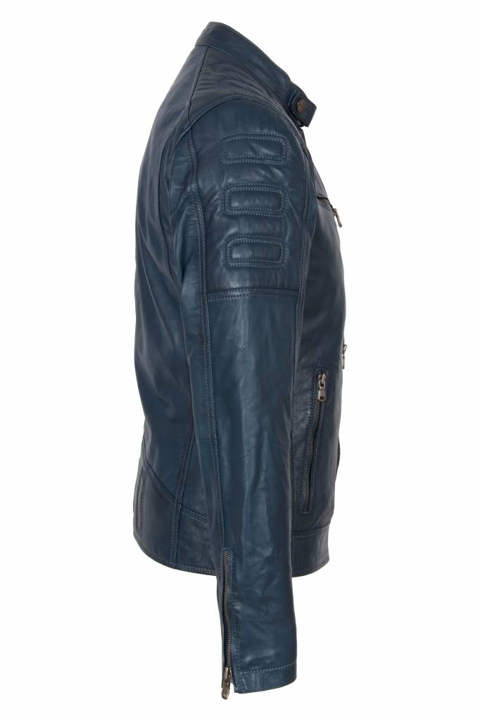 Carlo sachi Heren leren jas blauw 996