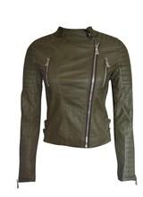 Dames biker leren jas groen