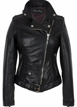 Dames leren jas zwart perfecto