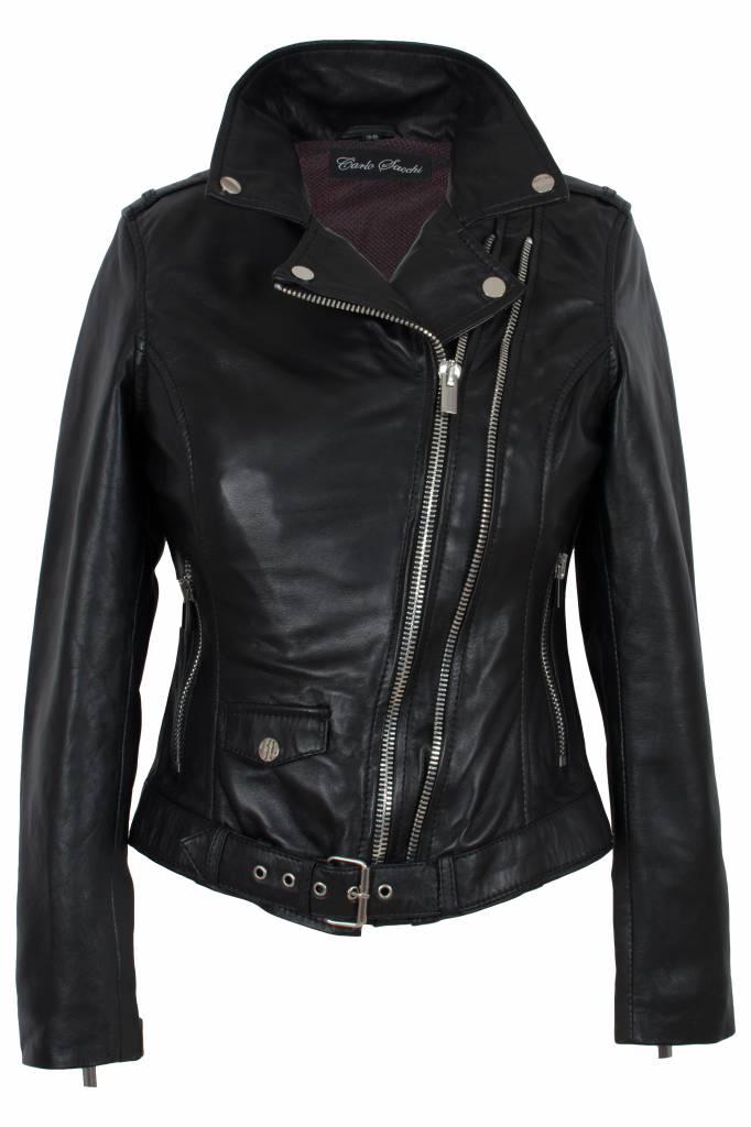 Carlo sachi Dames leren jas zwart perfecto
