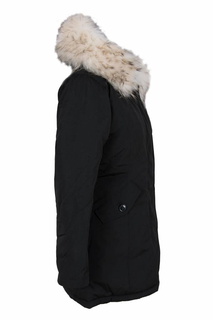 Attentif Dames winterjas met witte bontkraag parka 2 wit