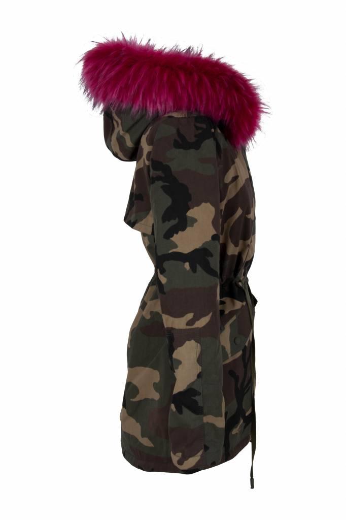 Attentif Dames winterjas met bontkraag parka army groen