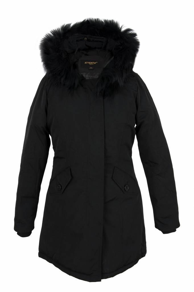 Attentif Dames winterjas met zwarte bontkraag parka 2 zwart