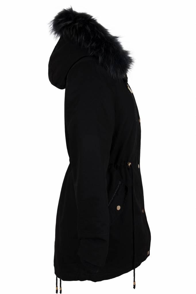 Attentif Dames winterjas parka 2 zwart met gekleurde bont