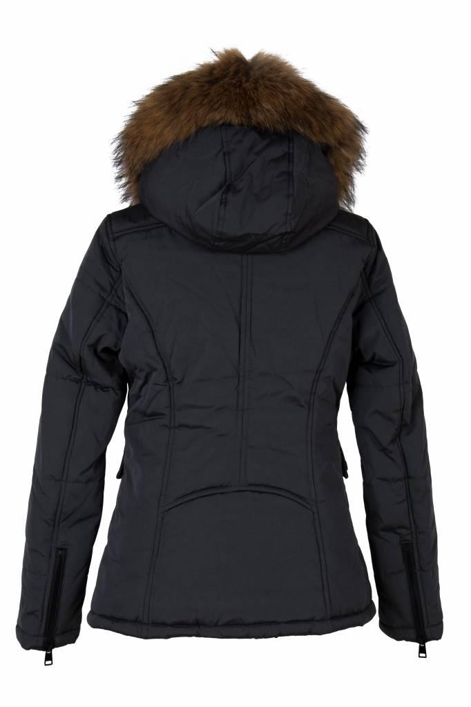 Attentif Dames winterjas met bontkraag parka 3 kort grijs