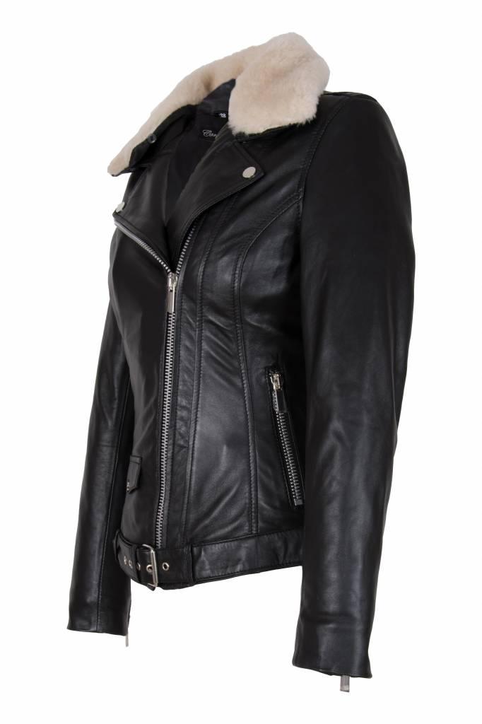Carlo Sacchi Dames leren jas perfecto zwart