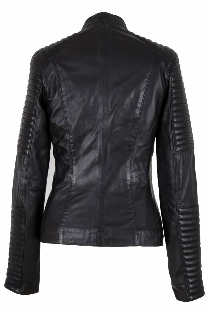 Carlo Sacchi Dames leren jas lady biker zwart