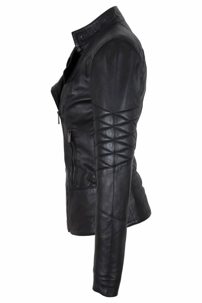 Carlo Sacchi Dames leren jas t1 zwart