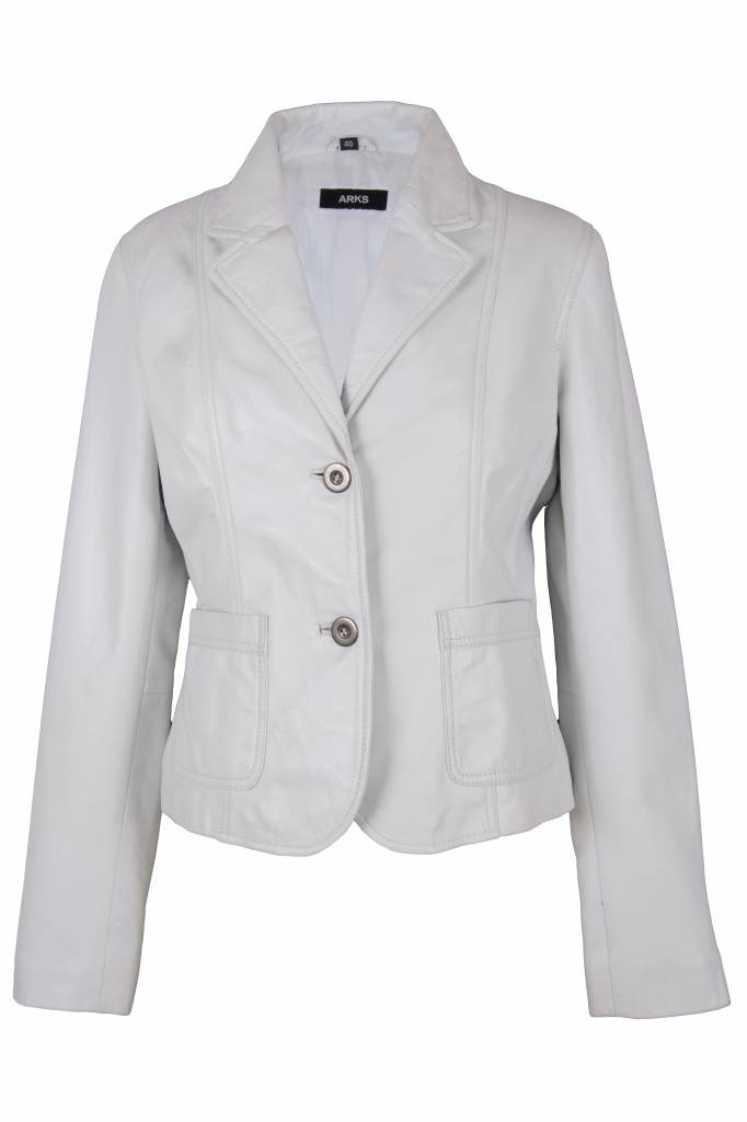 Carlo Sacchi Dames leren witte blazer