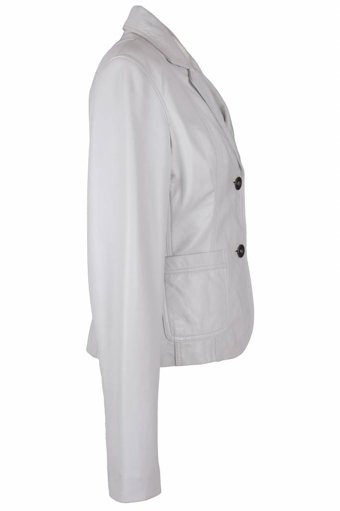 Carlo sachi Dames leren witte blazer