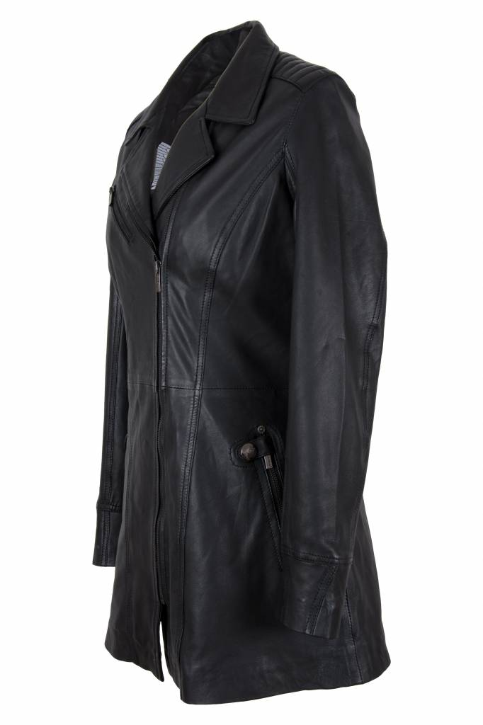 Carlo sachi Dames leren jas sofia zwart