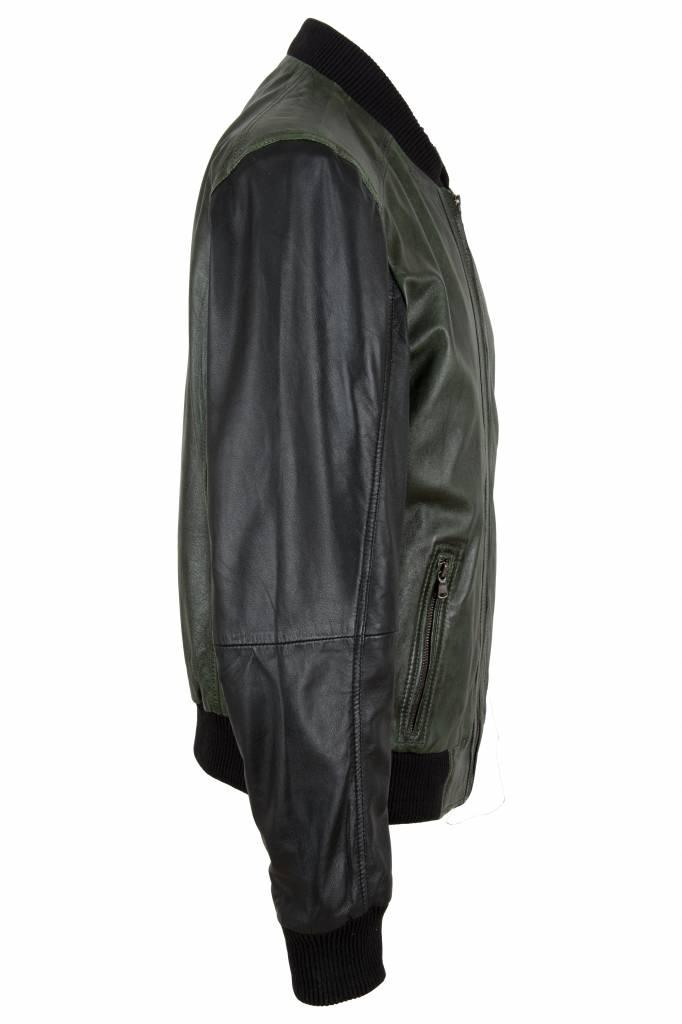 Carlo sachi Heren leren jas  groen zwart