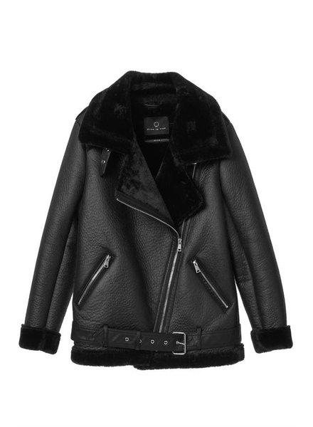 Dames lammy coat zwart