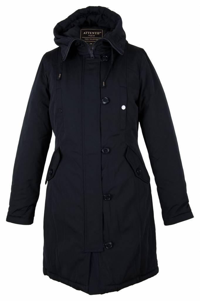 Dames winterjas lang parka 4 zwart