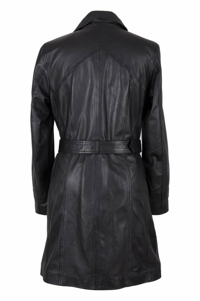 Dames leren jas trench coat zwart