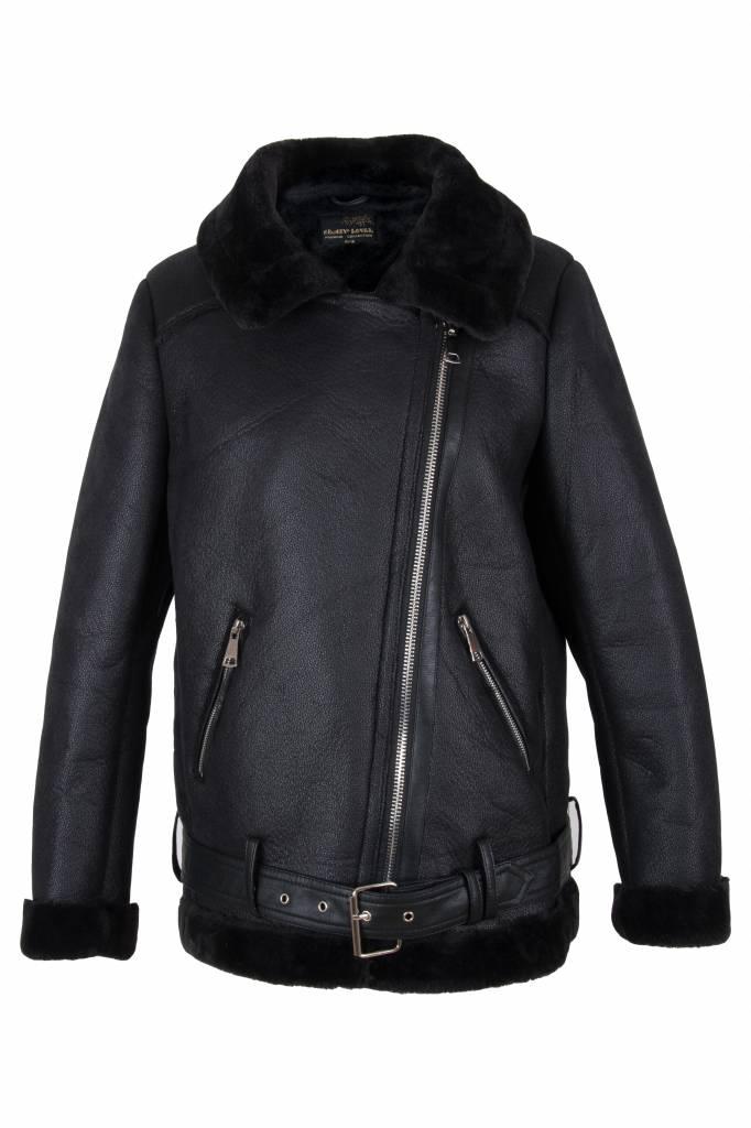 Dames lammy coat zwart